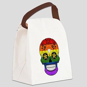 Gay Pride Rainbow Flag Sugar Skull with Roses Canv