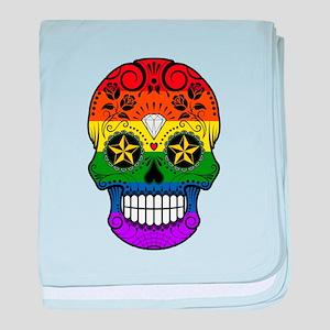Gay Pride Rainbow Flag Sugar Skull with Roses baby