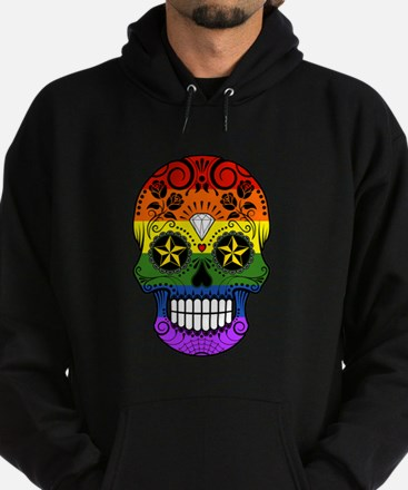 Gay Pride Rainbow Flag Sugar Skull with Roses Hood