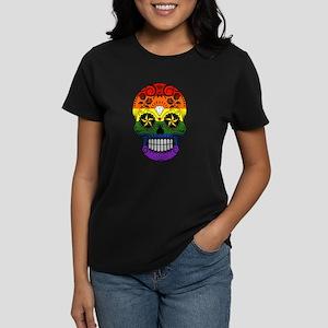 Gay Pride Rainbow Flag Sugar Skull with Roses T-Sh