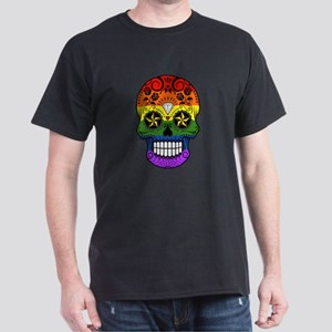 Gay Pride Rainbow Flag Sugar Skull with Roses T-Sh