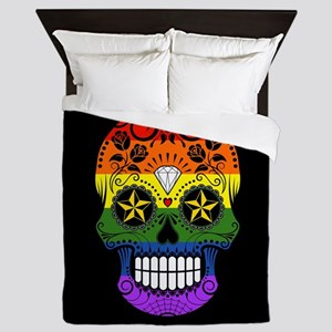 Gay Pride Rainbow Flag Sugar Skull with Roses Quee