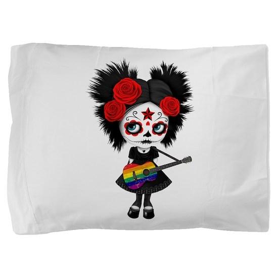 Sugar Skull Girl Playing Gay Pride Pillow Sham