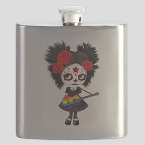 Sugar Skull Girl Playing Gay Pride Rainbow Flag Gu