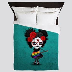 Sugar Skull Girl Playing Gay Pride Rainbow Flag Gu
