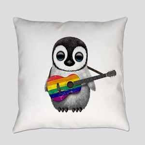 Baby Penguin Playing Gay Pride Everyday Pillow