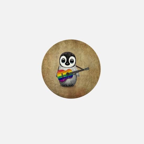 Baby Penguin Playing Gay Pride Rainbow Flag Guitar