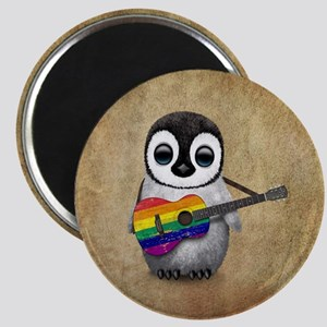Baby Penguin Playing Gay Pride Rainbow Flag Guitar