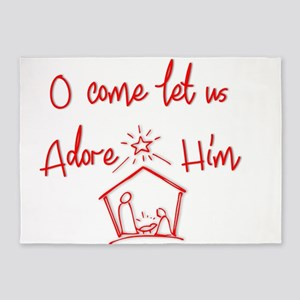 O come let us Adore Him 5'x7'Area Rug