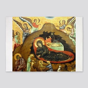 Nativity by Guido of Siena 5'x7'Area Rug