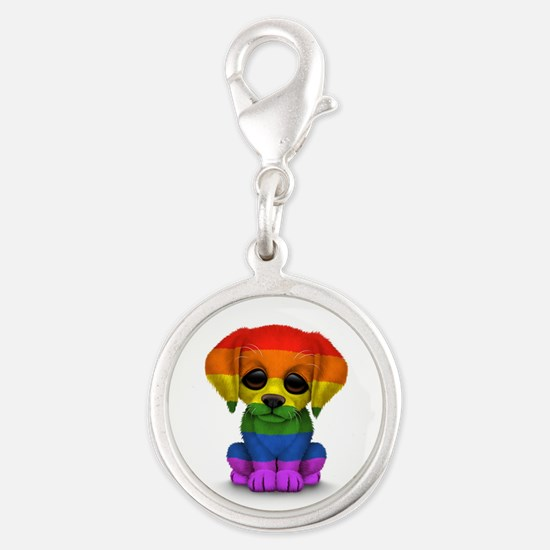 Cute Gay Pride Rainbow Flag Puppy Dog Charms