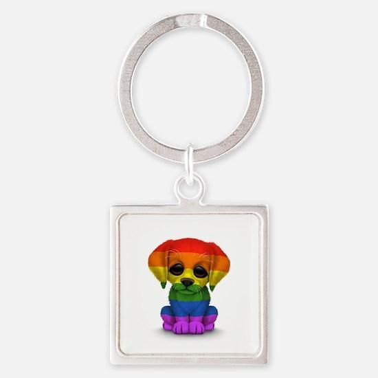 Cute Gay Pride Rainbow Flag Puppy Dog Keychains