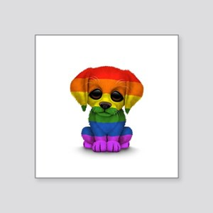 Cute Gay Pride Rainbow Flag Puppy Dog Sticker
