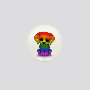 Cute Gay Pride Rainbow Flag Puppy Dog Mini Button