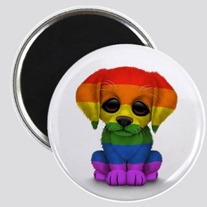 Cute Gay Pride Rainbow Flag Puppy Dog Magnets
