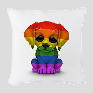 Cute Gay Pride Rainbow Flag Puppy Dog Woven Throw