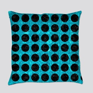 CIRCLES1 BLACK MARBLE & TURQUOISE Everyday Pillow