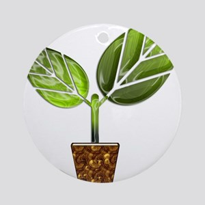 Sprouting Leaves in Pot Round Ornament