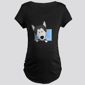 Cartoon Siberian Husky Maternity Dark T-Shirt