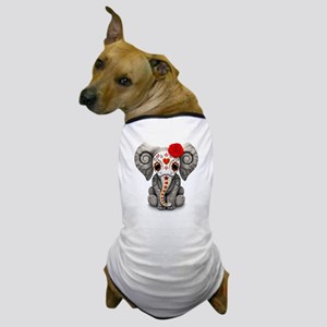 Red Day of the Dead Sugar Skull Baby Elephant Dog