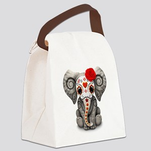 Red Day of the Dead Sugar Skull Baby Elephant Canv