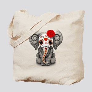 Red Day of the Dead Sugar Skull Baby Elephant Tote