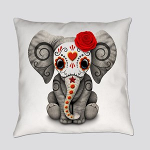 Red Day Of The Dead Sugar Skull Everyday Pillow