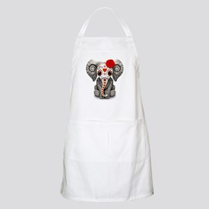 Red Day of the Dead Sugar Skull Baby Elephant Apro