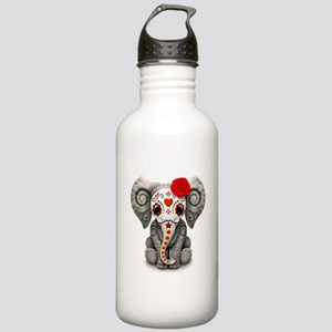 Red Day of the Dead Sugar Skull Baby Elephant Wate