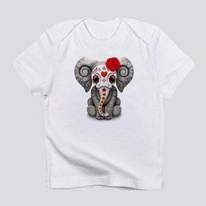 Red Day of the Dead Sugar Skull Baby Elephant Infa