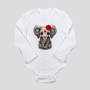 Red Day of the Dead Sugar Skull Baby Elephant Body