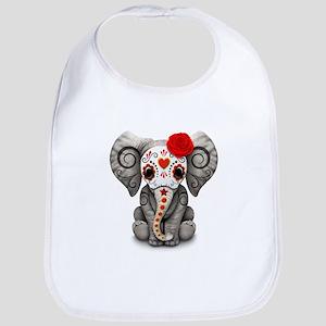 Red Day of the Dead Sugar Skull Baby Elephant Bib