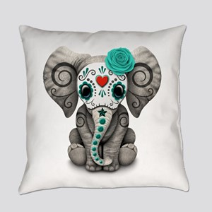 Teal Blue Day Of The Dead Sugar Everyday Pillow