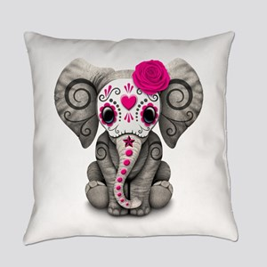 Pink Day Of The Dead Sugar Skull Everyday Pillow