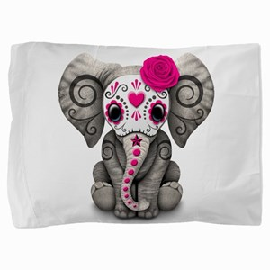 Pink Day of the Dead Sugar Skull Baby Elephant Pil