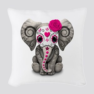 Pink Day Of The Dead Sugar Woven Throw Pillow