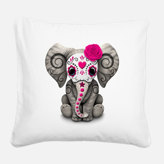 Pink Day of the Dead Sugar Skull Baby Elephant Squ