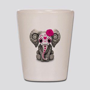 Pink Day of the Dead Sugar Skull Baby Elephant Sho