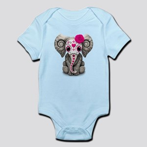 Pink Day of the Dead Sugar Skull Baby Elephant Bod