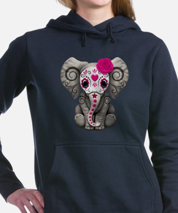 Pink Day of the Dead Sugar Skull Baby Elephant Wom