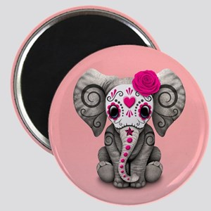 Pink Day of the Dead Sugar Skull Baby Elephant Mag