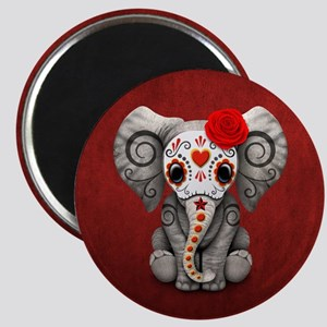 Red Day of the Dead Sugar Skull Baby Elephant Magn