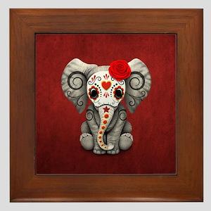 Red Day of the Dead Sugar Skull Baby Elephant Fram