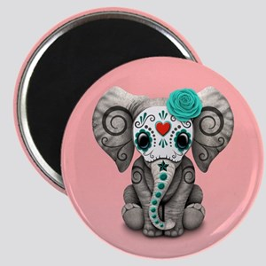 Pink and Blue Day of the Dead Sugar Skull Baby Ele
