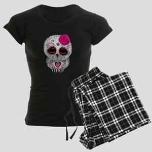 Pink Day of the Dead Sugar Skull Owl pajamas