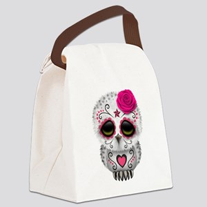 Pink Day of the Dead Sugar Skull Owl Canvas Lunch