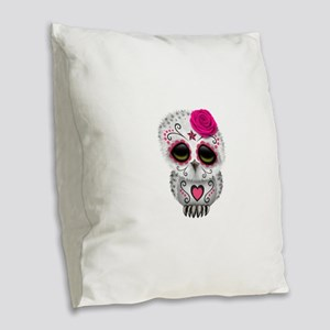 Pink Day of the Dead Sugar Skull Owl Burlap Throw