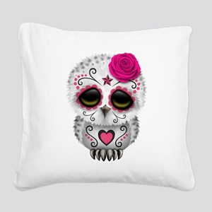 Pink Day of the Dead Sugar Skull Owl Square Canvas