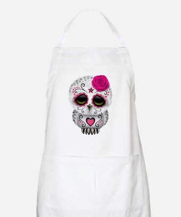 Pink Day of the Dead Sugar Skull Owl Apron
