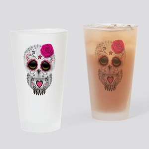 Pink Day of the Dead Sugar Skull Owl Drinking Glas